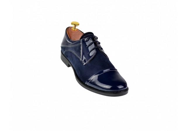Lichidare marimea 38 Pantofi dama casual din piele naturala bleumarin - LP10BLBL