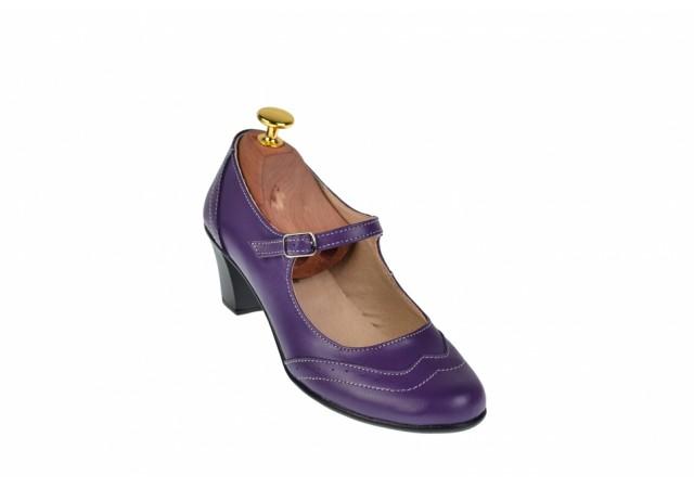 Oferta marimea 38 - Pantofi dama, mov, eleganti, din piele naturala - LP104MOV