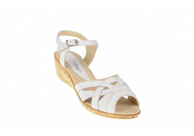 Lichidare marimea 38 - Sandale albe dama din piele naturala LS3A