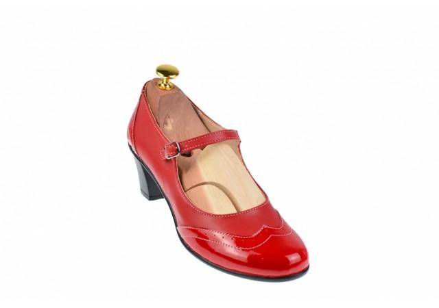Pantofi dama rosii, eleganti, din piele naturala, cu toc de 5 cm, P104RR