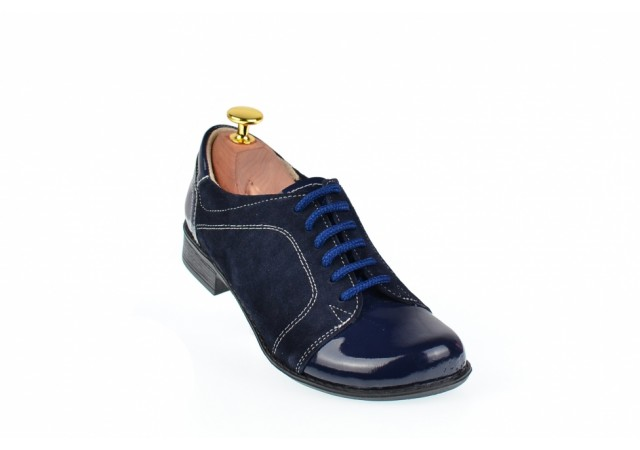 Pantofi dama casual din piele naturala bleumarin - P53BLBL