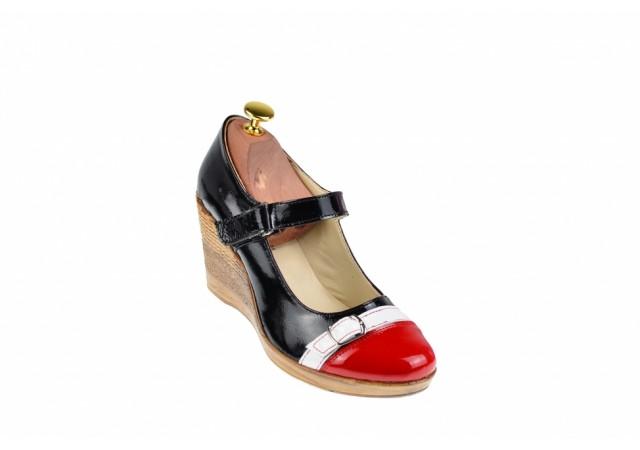 Pantofi dama, casual, din piele naturala, cu platforme de 7cm, foarte comozi - P60RAN2