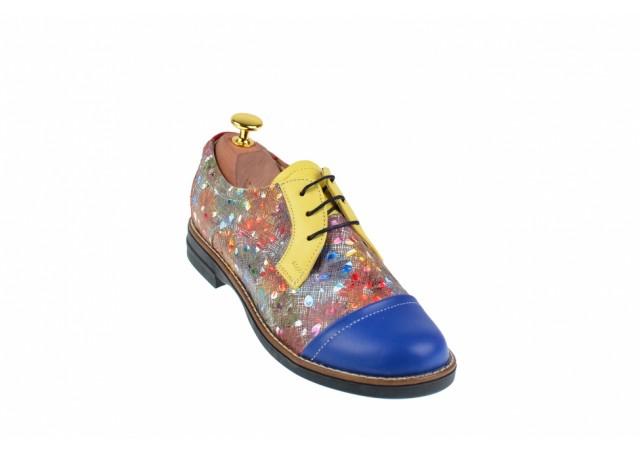 Pantofi dama din piele naturala multicolora - P10BLGR
