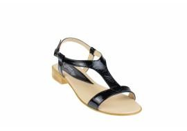 Lichidare marimea 39 - Sandale dama din piele naturala lacuita, foarte comode - LSCORALACN