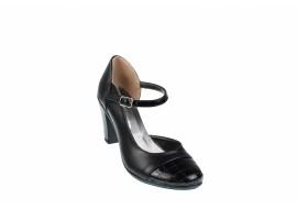 Pantofi dama eleganti, decupati din piele naturala cu varf lacuit - S302NL