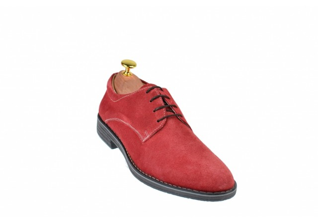 Oferta marimea 38, 41, pantofi barbati casual din piele naturala intoarsa, culoare bordo - LPAVELVIS
