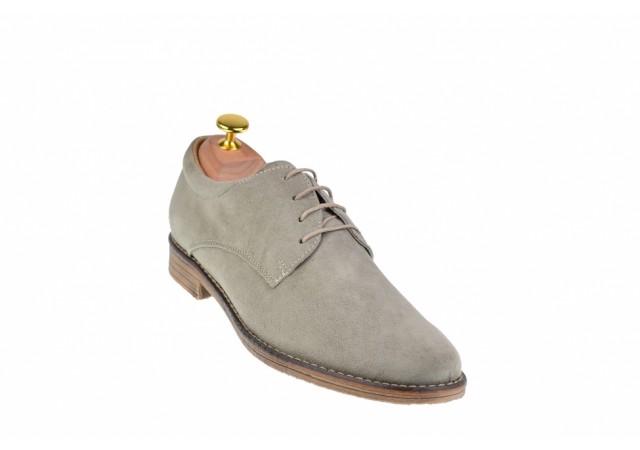 Pantofi barbati casual din piele naturala intoarsa gri - PAGRIVEL2