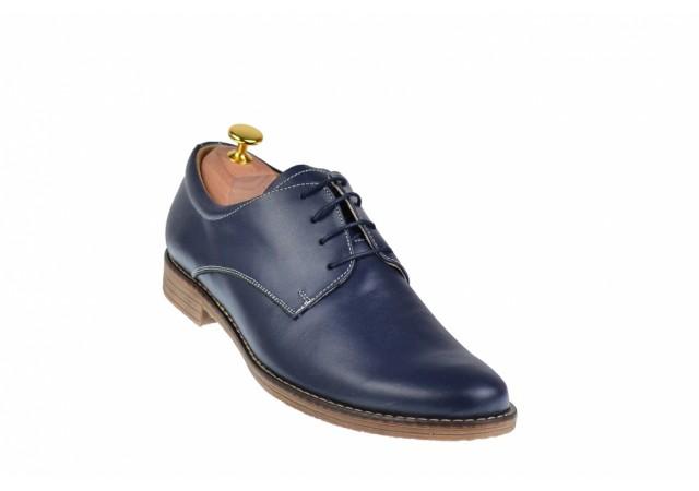 Pantofi barbati casual din piele naturala bleumarin - PABLM