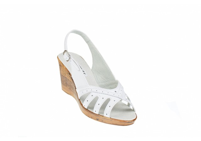 Sandale dama cu platforma S88ALB - Made in Romania