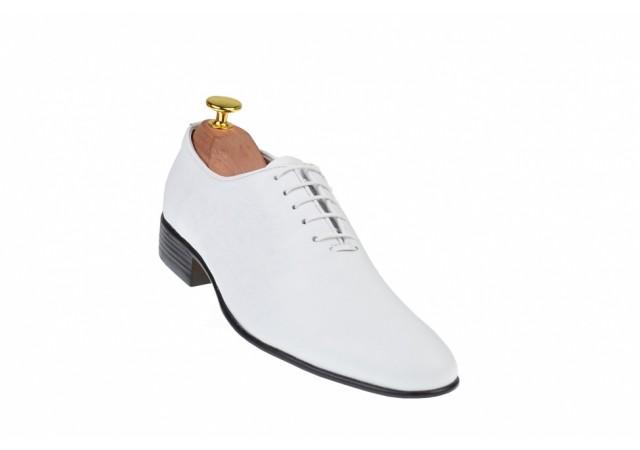 Oferta marimea 41 Pantofi albi barbati eleganti din piele naturala - LENZOABOX