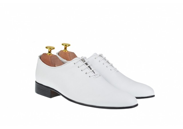 Pantofi barbati, eleganti din piele naturala alba  - ENZOABOX