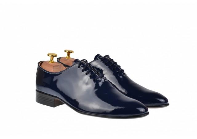 Pantofi barbati office, eleganti din piele naturala, bleumarin lac, ENZO - MOD1BLMLAC