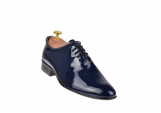 Lichidare marimea 40, 41, 43, pantofi barbati eleganti bleumarin din piele naturala lacuita - LMOD1BLMLAC