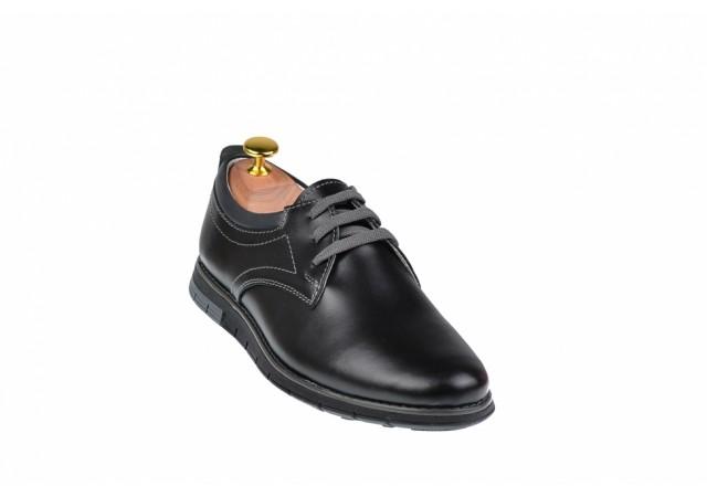 Pantofi casual - sport barbati din piele naturala neagra - TENBOXYANISN