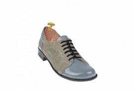 Pantofi dama casual-eleganti din piele naturala gri - P53GG