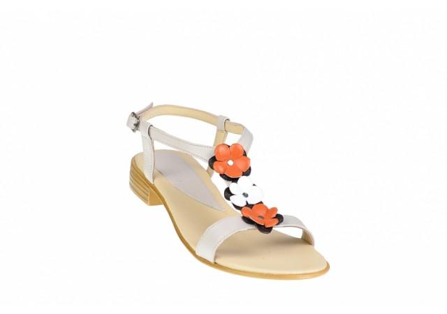 Sandale dama din piele naturala cu floricele - SCORAALB