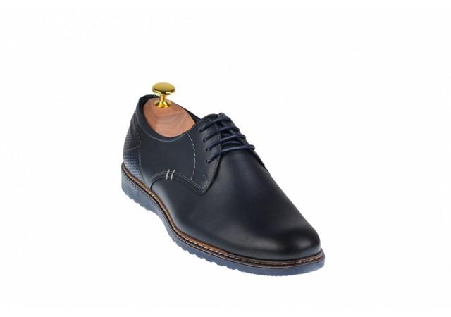 Pantofi barbati casual din piele naturala bleumarin - SIR135BL
