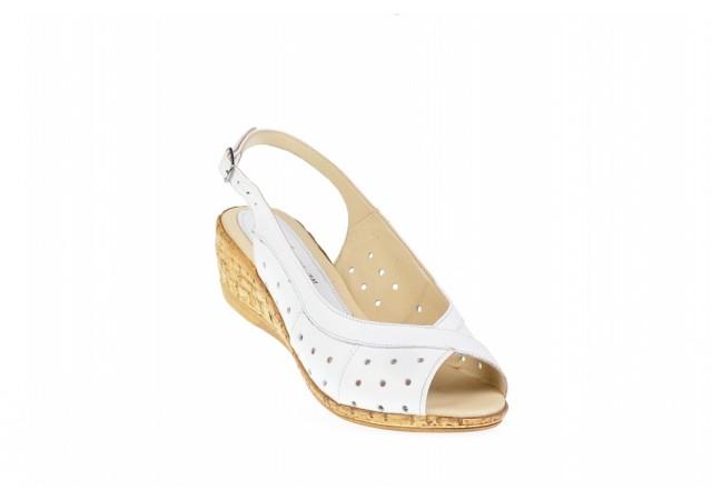 Lichidare marimea 36 Sandale dama din piele naturala, cu platforma - LSMALTAALB