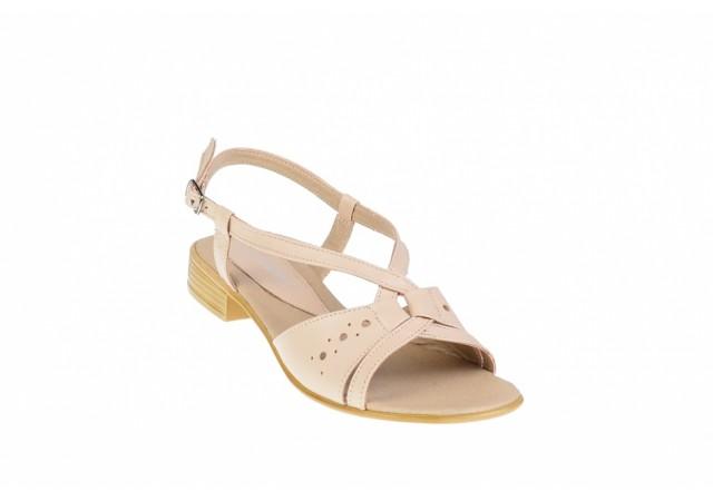Sandale dama bej din piele naturala, platforme de 2cm - S36BEJ