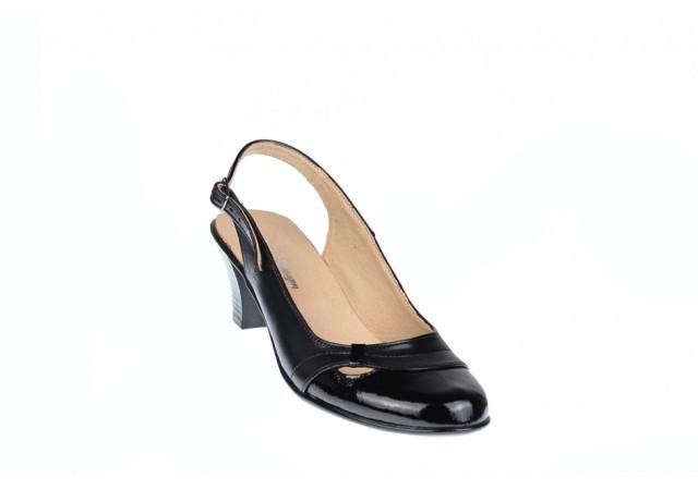 Pantofi dama eleganti, decupati din piele naturala, toc de 5 cm - S511NL