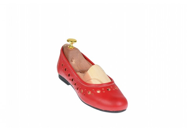Balerini dama casual din piele naturala rosie - FLO2R