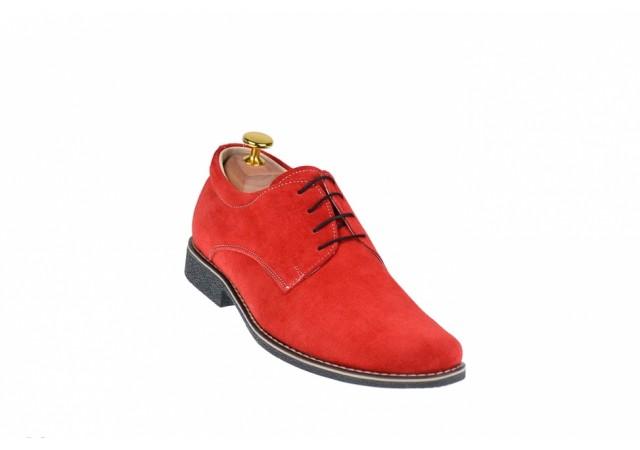 Lichidare marimea 42 - Pantofi barbati rosii, casual - eleganti din piele naturala intoarsa - LPARVEL