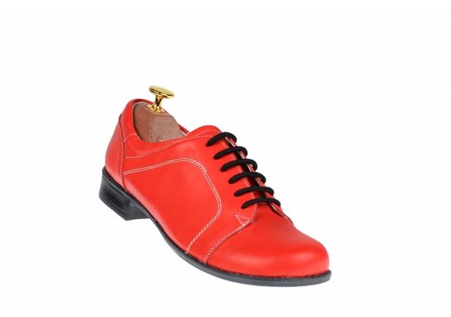 Pantofi rosii dama casual din piele naturala - Cod: RED1R