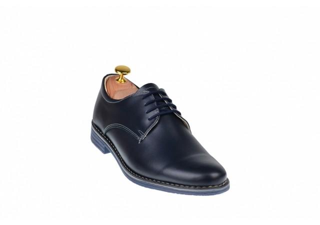 Pantofi bleumarin barbati casual din piele naturala bleumarin 859BLM