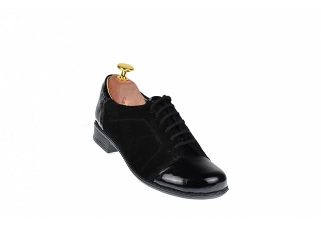 Lichidare marimea 35 Pantofi dama piele naturala, casual negri - LP53LACSN