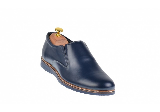 Pantofi barbati sport - casual din piele naturala, bleumarin  -  TENMARIOBLU