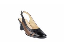 Pantofi dama decupati, eleganti, din piele naturala, cu toc - S301N
