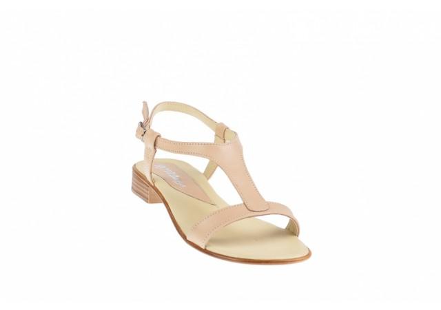 Oferta marimea 37, 38 Sandale dama din piele naturala Bej BOX - Made in Romania LS16BEJBOX