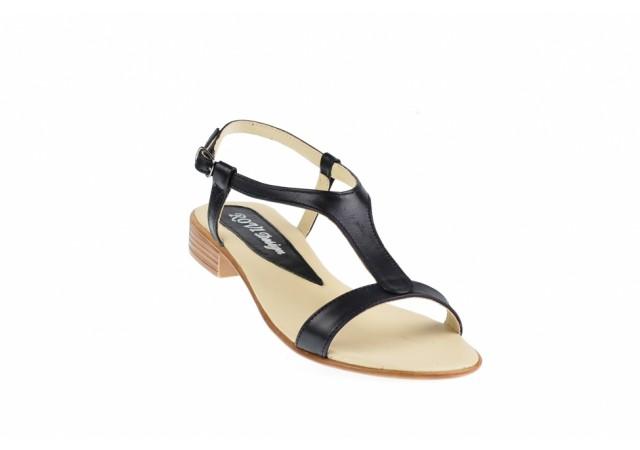 Oferta marimea 37,38 - Sandale dama, din piele naturala, negru box CORA - LS16NBOX