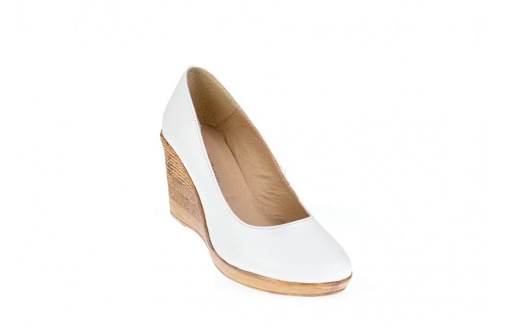 Oferta Marimea 36 Pantofi Dama Casual Din Piele Naturala Alba Cu