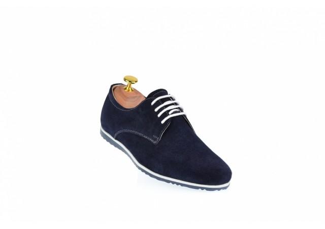 Pantofi barbati sport - casual din piele naturala intoarsa bleumarin - 880BLM
