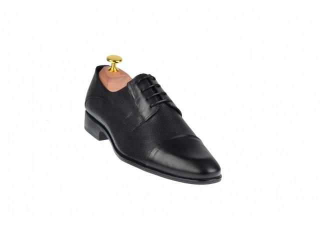 Pantofi barbati eleganti din piele naturala de culoare neagra - SIR085NP