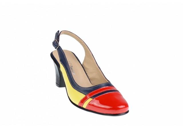 Pantofi dama, eleganti, decupati, din piele naturala, toc de 7cm - S301RBLG