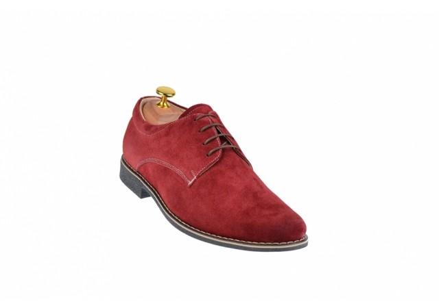 Pantofi barbati casual - eleganti din piele naturala intoarsa, visiniu - PA2V