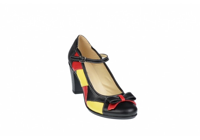 Pantofi dama eleganti din piele naturala, toc de 7cm - P13423NRG
