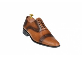 Oferta marimea 42, 43, 44 Pantofi barbati eleganti din piele naturala maro cognac - L246MD