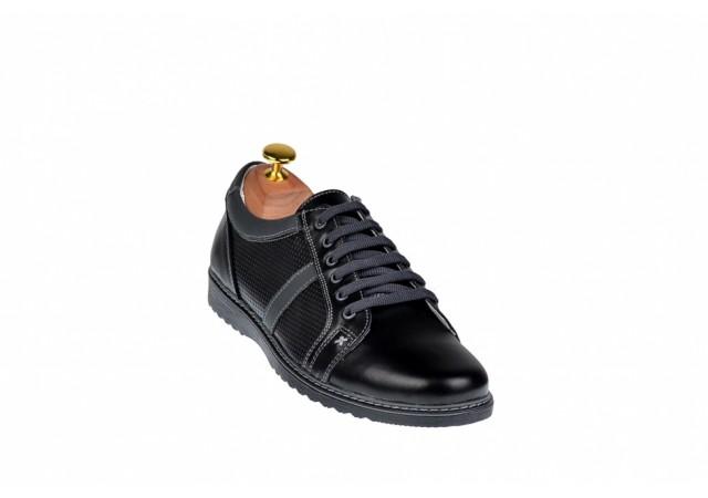 Pantofi barbati sport, casual din piele naturala bleumarin - TENNREGRUGRI