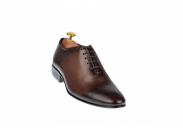 Pantofi barbati office, eleganti din piele naturala maro, Carlo 026M