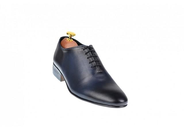 Pantofi barbati eleganti din piele naturala bleumarin - 024BL