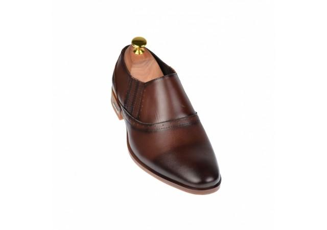 Pantofi barbati eleganti din piele naturala maro - cod ELION4M