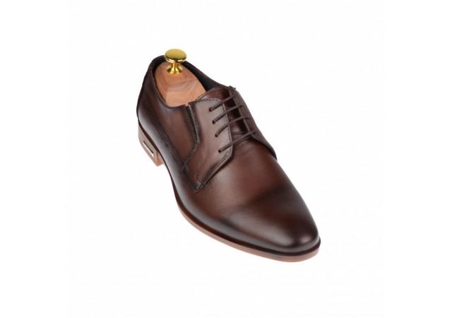 Pantofi barbati eleganti din piele naturala maro - cod ELION14M