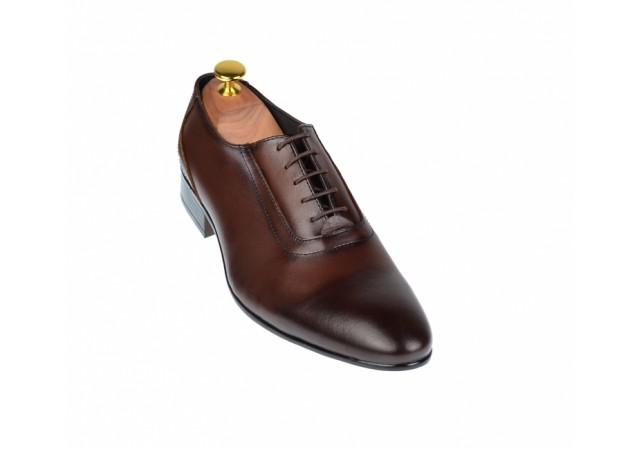 Pantofi barbati eleganti din piele naturala maro - cod ELION9M