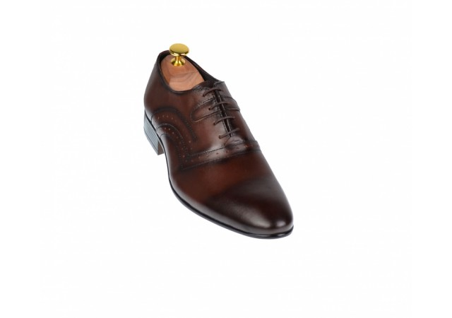 Pantofi barbati eleganti din piele naturala maro - cod ELION3M