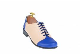 Pantofi dama casual din piele naturala (albastru cu bej) Cod: P53ALBEJ