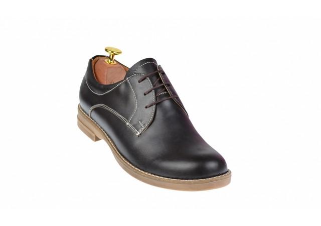 Pantofi dama casual din piele naturala maro box - P102MBOX