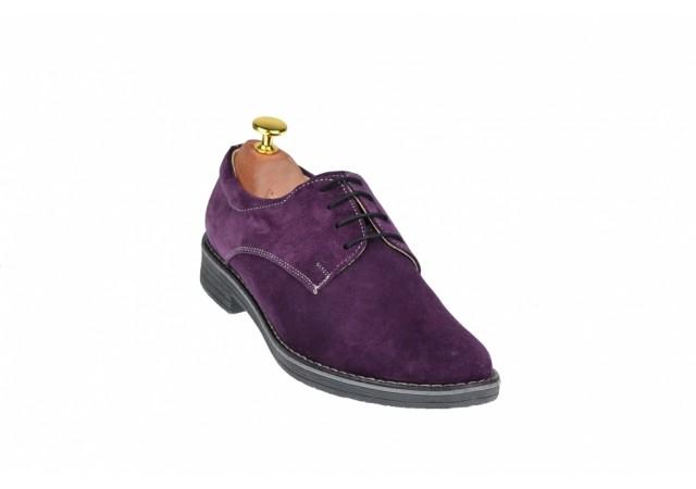 Oferta marimea 38 Pantofi barbati casual - eleganti din piele naturala velur mov LPAMOV